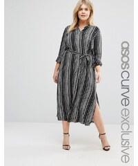ASOS CURVE - Mittellanges Hemdkleid mit schwarz-weißen Streifen und Grandad-Kragen - Mehrfarbig