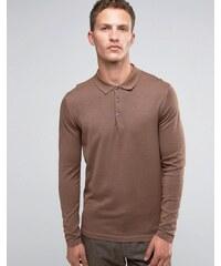 Selected Homme - Polo à manches longues en maille de laine mérinos - Beige
