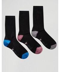 Lovestruck - Socken mit Blockfarben an der Ferse und am Zeh, 3er-Pack - Schwarz