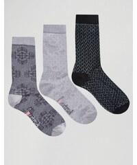 Lovestruck - Socken mit Spitzenmuster und Rosen im 3er-Pack - Grau