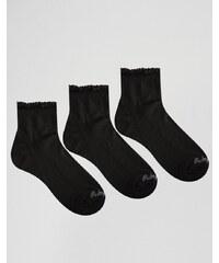 Ruby Rocks - Einfarbige Socken mit Raffung im 3er-Set - Schwarz