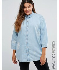ASOS CURVE - Jeanshemd im Destroyed-Look mit Daydreamer-Stickerei - Blau