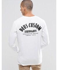 Deus Ex Machina - T-shirt manches longues avec imprimé surf au dos - Blanc