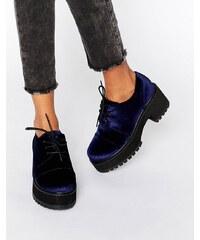 ASOS - OBACA - Grosses chaussures en velours et à lacets - Bleu marine