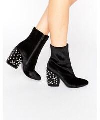 ASOS ENDORIA Velvet Embellished Heel Ankle Boots - Schwarz