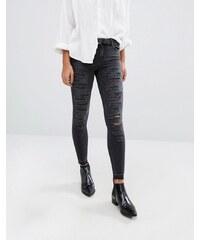 Only - Ultimate - Jean skinny à taille mi-haute et longueur cheville avec déchirures sur l'ensemble - Gris