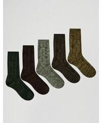 ASOS - Lot de 5 paires de chaussettes torsadées pour bottes - Kaki - Vert