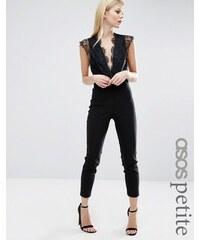 ASOS PETITE - Sexy Overall mit Spitze und tiefem Ausschnitt - Schwarz