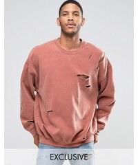 Reclaimed Vintage - Sweat-shirt oversize surteint effet vieilli - Rouge
