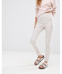 Missguided - Jean skinny enduit taille haute - Beige