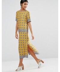 Warehouse - Robe droite mi-longue imprimée mosaïque - Jaune