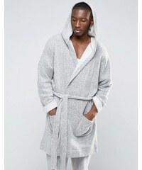 ASOS Loungewear - Robe de chambre en coton brossé - Gris