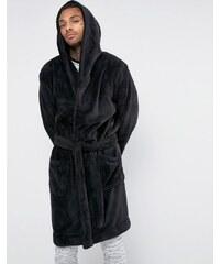 ASOS Loungewear - Robe de chambre à capuche en polaire - Noir