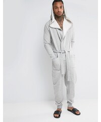ASOS Loungewear - Grenouillère texturée style robe de chambre - Gris