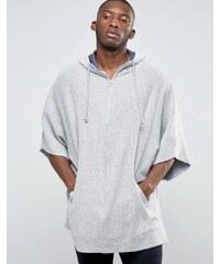 ASOS Loungewear - Cape texturée avec demi fermeture éclair - Gris