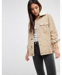 ASOS - Veste girlfriend en jean et velours côtelé avec col en fourrure synthétique - Taupe - Beige
