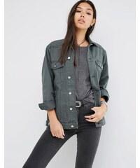 ASOS - Veste en jean style girlfriend - Kaki délavé - Vert
