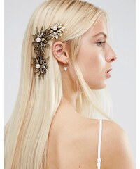 ASOS - Barrette avec fleur en métal pour grandes occasions - Doré