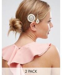 ASOS - Lot de 2 barrettes en fausses perles pour grandes occasions - Rose