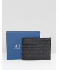 Armani Jeans - Porte-cartes avec logo sur l'ensemble - Noir
