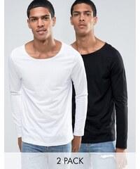 ASOS - Langärmlige Shirts mit U-Boot-Ausschnitt im 2er-Set, 19% RABATT - Mehrfarbig