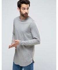 ASOS - T-shirt long à manches longues avec ourlet arrondi et fermeture éclair - Gris - Gris