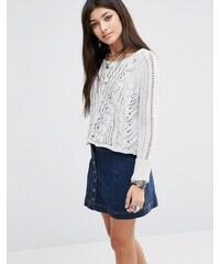 Free People - Pullover mit überkreuztem Zopfmuster - Weiß