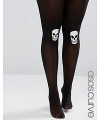 ASOS CURVE - Halloween - Strumpfhose mit Totenkopf auf dem Knie, der im DUnkeln leuchtet - Schwarz