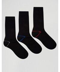 Ciao - Italy - Socken im 3er-Set aus Modalbaumwolle mit kontrastierender Fersenpartie - Schwarz