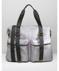 ASOS LIFESTYLE - Nylon-Reisetasche mit Reißverschlusstasche - Grau