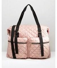 ASOS LIFESTYLE - Gesteppte Nylon-Reisetasche mit Reißverschlusstasche - Rosa
