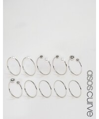ASOS Curve - Lot de 10 bagues mélangées ajourées avec fausse perle - Argenté