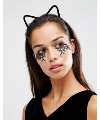 Johnny Loves Rosie - Katy - Bandeau à oreilles de chat d'halloween en fine fourrure - Noir - Noir