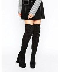 Public Desire - Cienna - Overknee-Stiefel mit extrem hoher Plateausohle - Schwarz