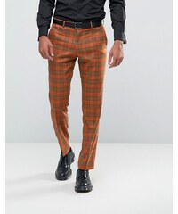 ASOS Slim Suit Trousers In Bold Rust Check - Bronze