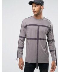 ASOS -T-shirt oversize à manches longues et bretelle fantaisie - Gris