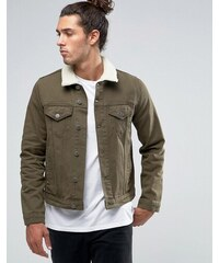 ASOS - Veste cintrée en jean avec col effet peau de mouton - Kaki - Vert