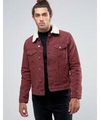 ASOS - Veste cintrée en jean avec col effet peau de mouton - Bordeaux - Rouge