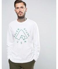 Poler - T-shirt à manches longues et logo tente - Blanc