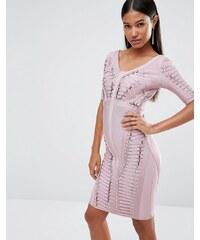 WOW Couture - Robe bandage effet échelle - Rose