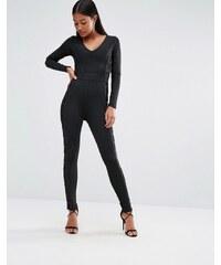 Wow Couture - Combinaison bandage avec empiècements en tulle - Noir