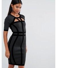 WOW Couture - Robe bandage avec bordure en velours - Noir