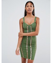 WOW Couture - Robe bandage avec bandes dorées - Vert