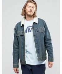 Vans - Hargill VA2YP1KFM - Veste en jean avec col en fausse fourrure - Bleu - Bleu