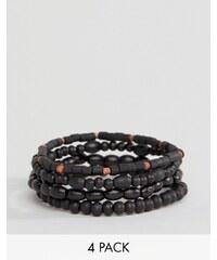 Classics 77 - Lot de 4 bracelets en perles - Noir - Noir