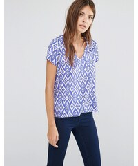 Vila - Chemise col V à manches courtes et imprimé ikat - Bleu
