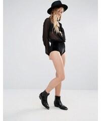 Ebonie n Ivory - Short taille haute en velours - Noir