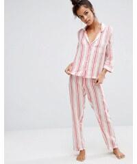 ASOS - Ensemble de pyjama à rayures - Rouge - Multi