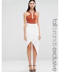 Lavish Alice Tall - Jupe portefeuille mi-longue coupe droite - Blanc