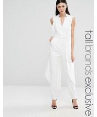 Lavish Alice Tall - Combinaison sans manches style smoking - Blanc